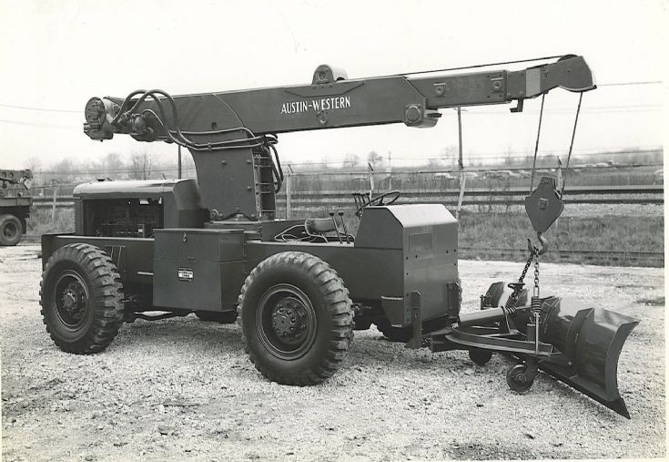 Austin Western Hydraulic crane with snowplow