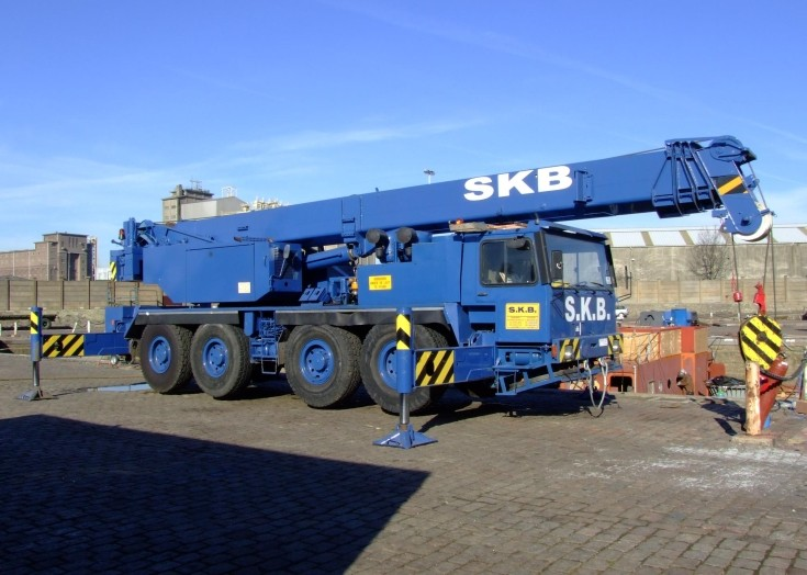 Telescopic Crane at construction works