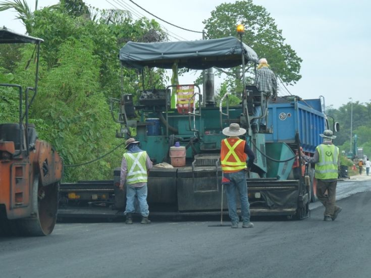 Vogele road paver in action