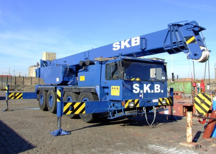 S.K.B. wheeled telescopic crane at construction works