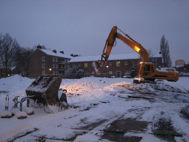 Excavating in the snow